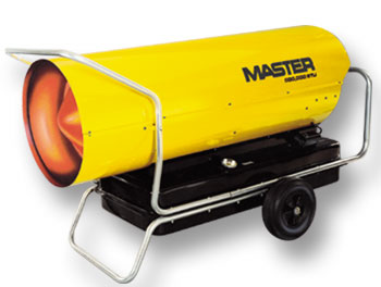 Master portable forced air heater, 55,000 BTU's, kerosene, fuel oil, low & high pressure construction salamader / torpedo type heaters