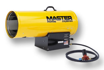 Master portable forced air heater, propane construction salamader / torpedo type heaters.